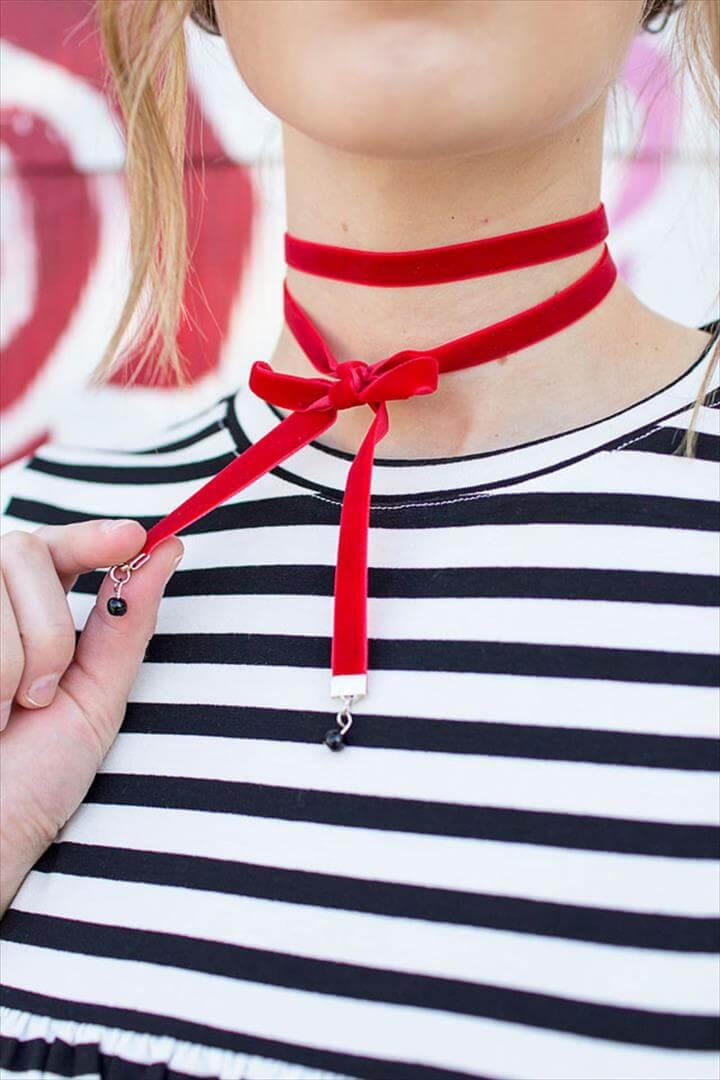 DIY red velvet wrap choker with black beads