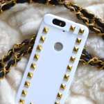 DIY White with gold studs Valentino rockstud case cover for mobile phone