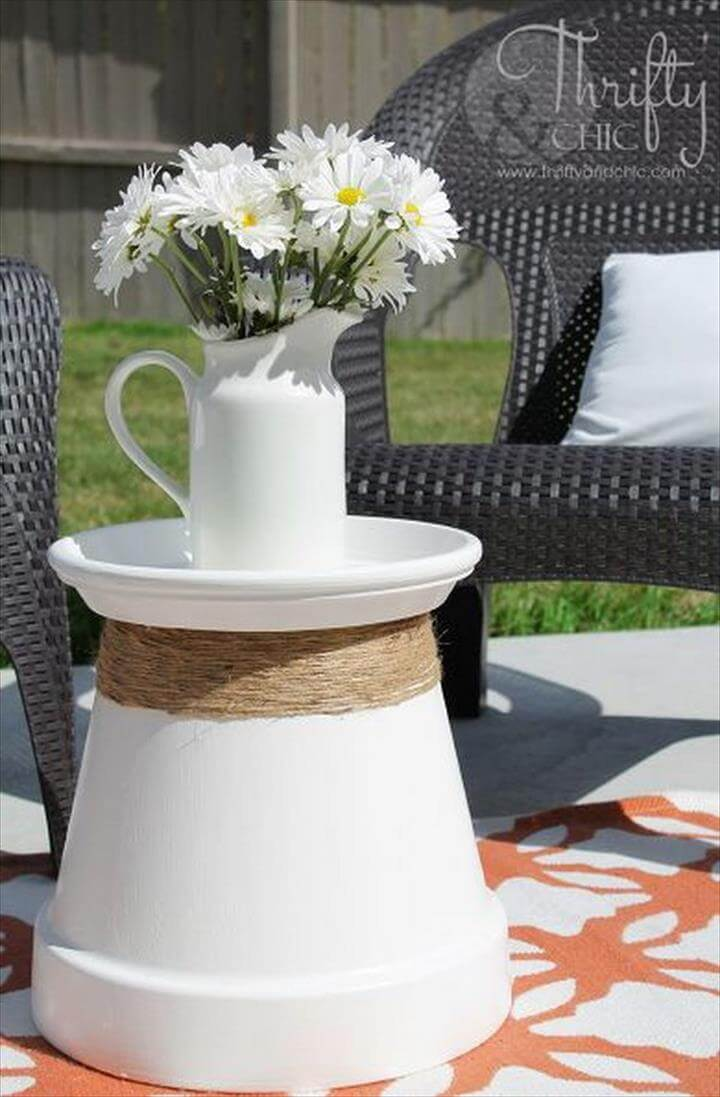 Repurposed Terracotta Pot Accent Table