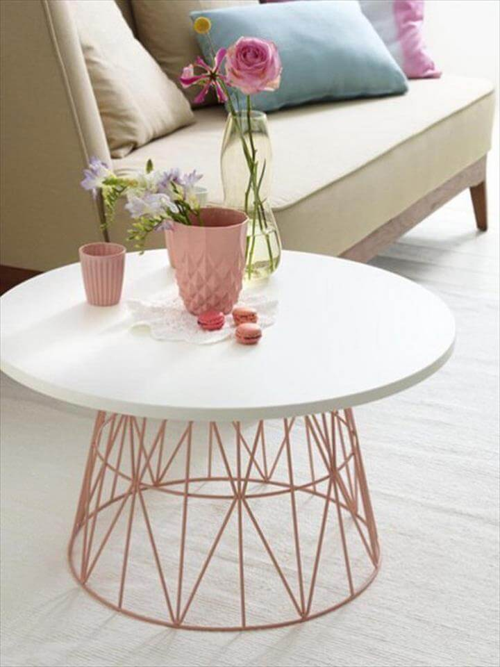 DIY Coffee Table from Old Wire Basket