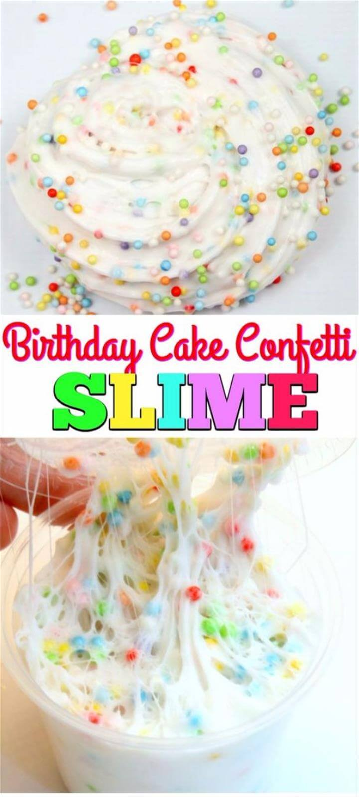 Best DIY Slime Recipes - Birthday Cake Confetti Slime - Cool and Easy Slime Recipe and