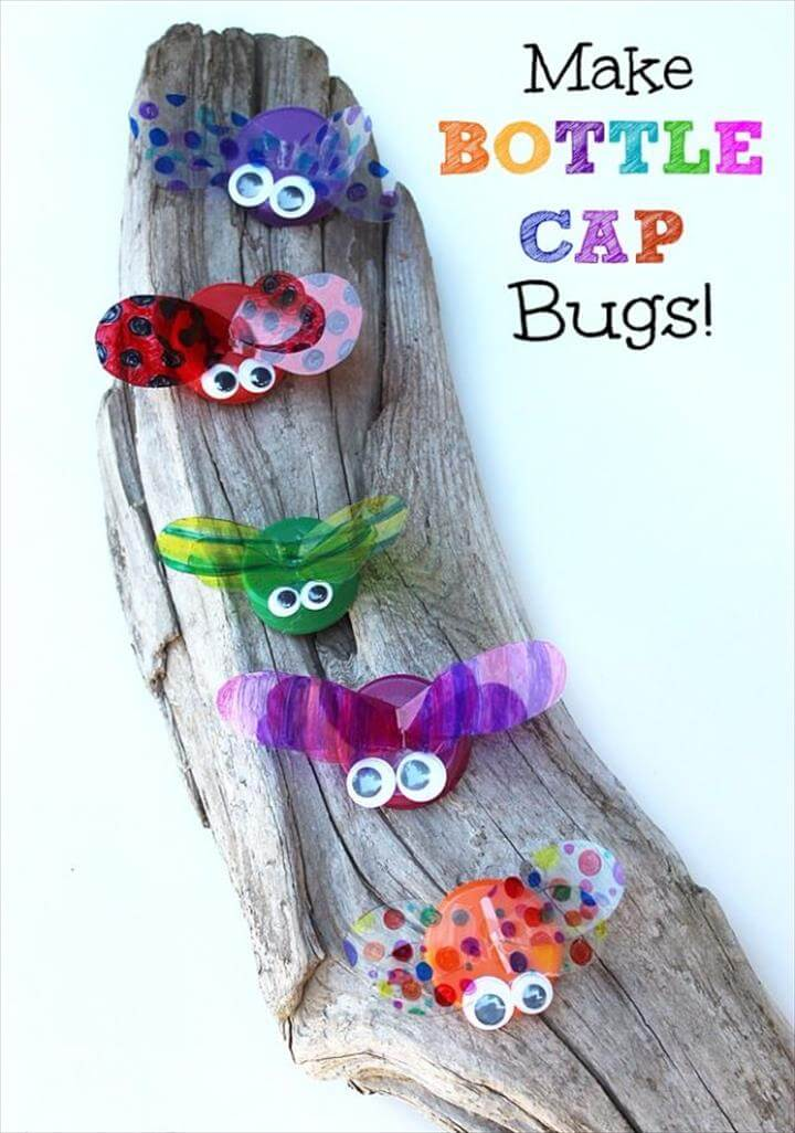 DIY Ideas for Kids To Make This Summer - Bottle Cap Bugs - Fun Crafts and