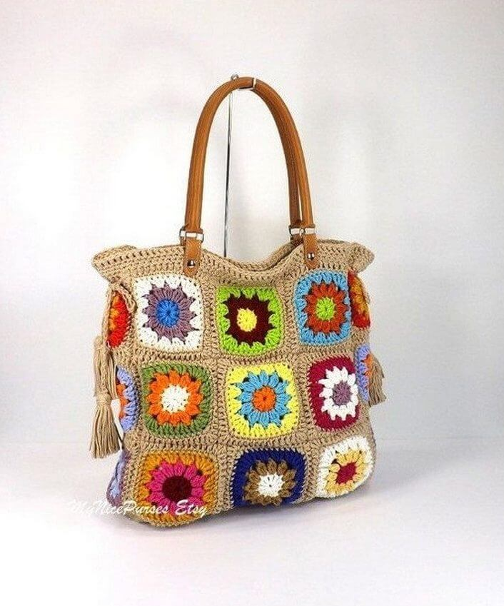 crochet bag, diy idea, crochet bag idea, colorful bag idea