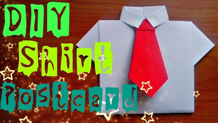Paper Shirt Easy. Origami Craft Postcard For Children. Fathers Day Gifts and Ideas