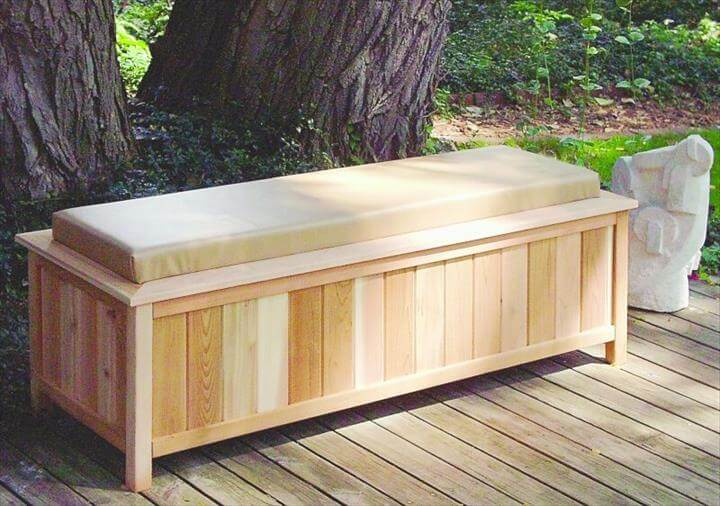 Large Cedar Storage Bench With Cushion