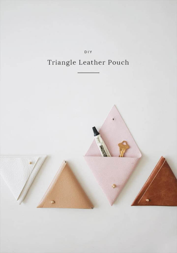 Dollar Store Crafts - DIY Triangle Leather Pouch - Best Cheap DIY Dollar Store Craft Ideas