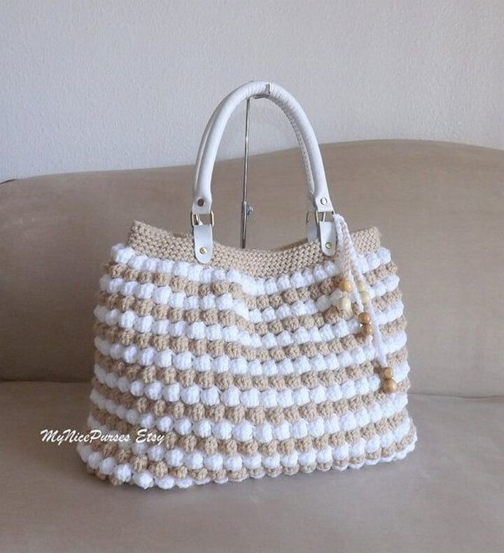 adorable crochet bag, diy leather handle bag, bohemian diy bag