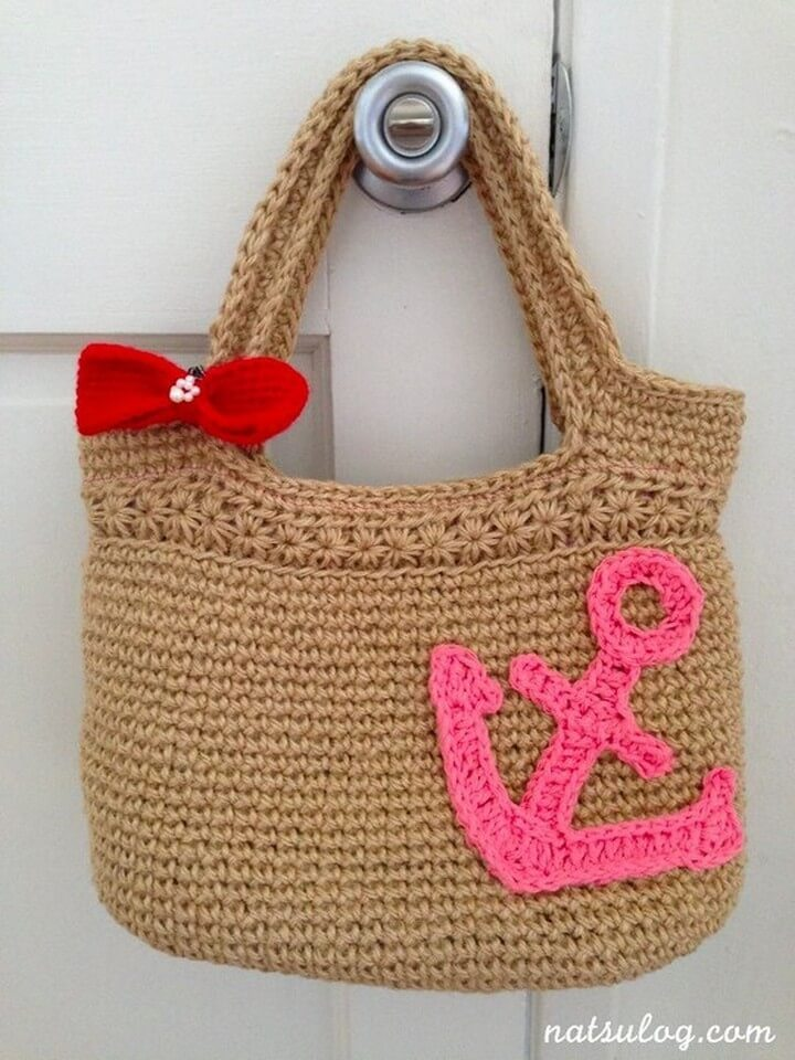 crochet bag for summer, diy crochet bag with bow, handle crochet bag, diy crochet bag