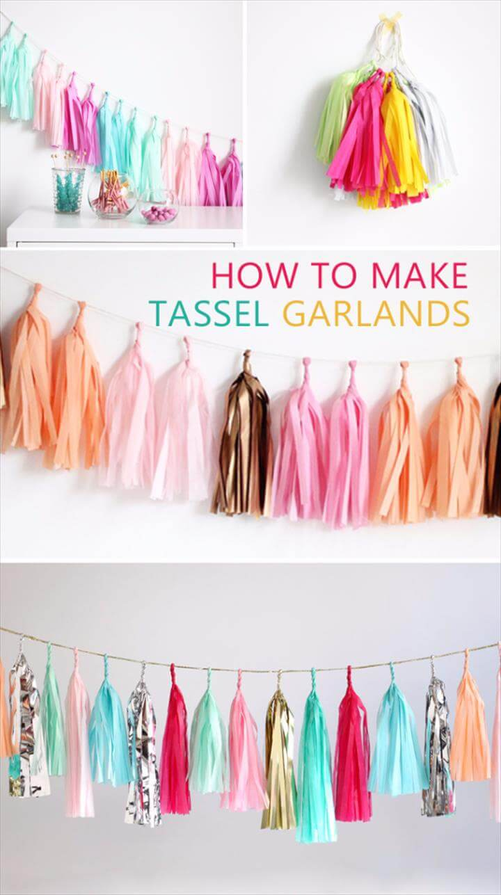 Dollar Store Crafts - Tassel Garland DIY - Best Cheap DIY Dollar Store Craft Ideas for