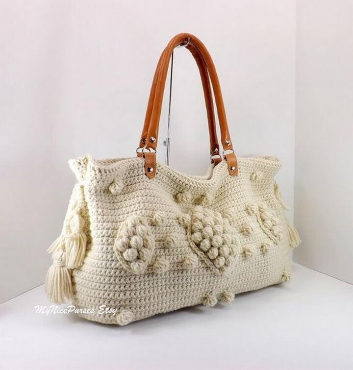 crochet bag, diy bag, beige style bag, diy handle crochet bag