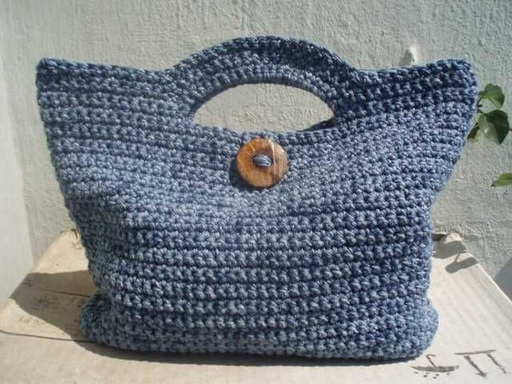 very simple crochet bag, diy crochet bag, crochet bag button, diy crochet