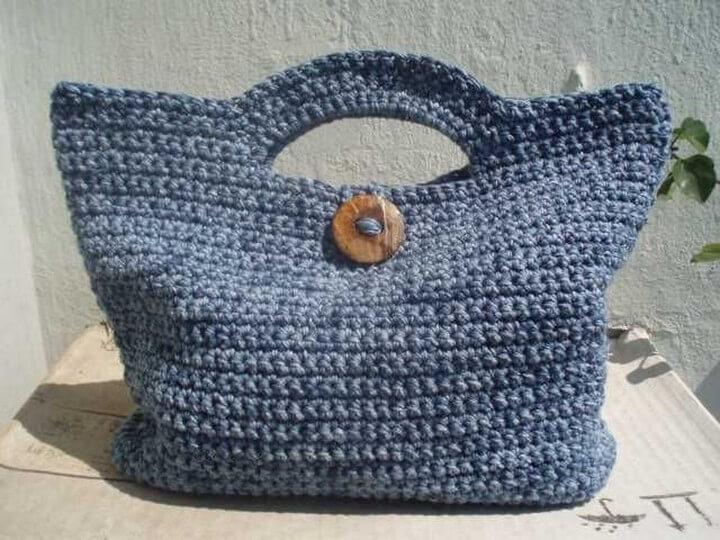 very simple crochet bag, diy crochet bag, crochet bag button, diy crochet