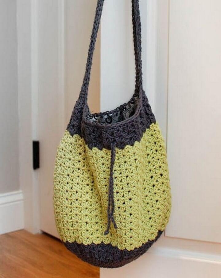 diy crochet, crochet idea, handle bag diy,