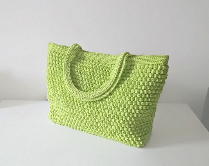 diy crochet, crochet pattern, handle crochet bag, green crochet bag