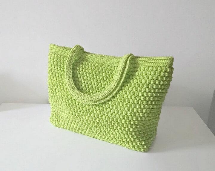 diy crochet, crochet pattern, handle crochet bag, green crochet bag