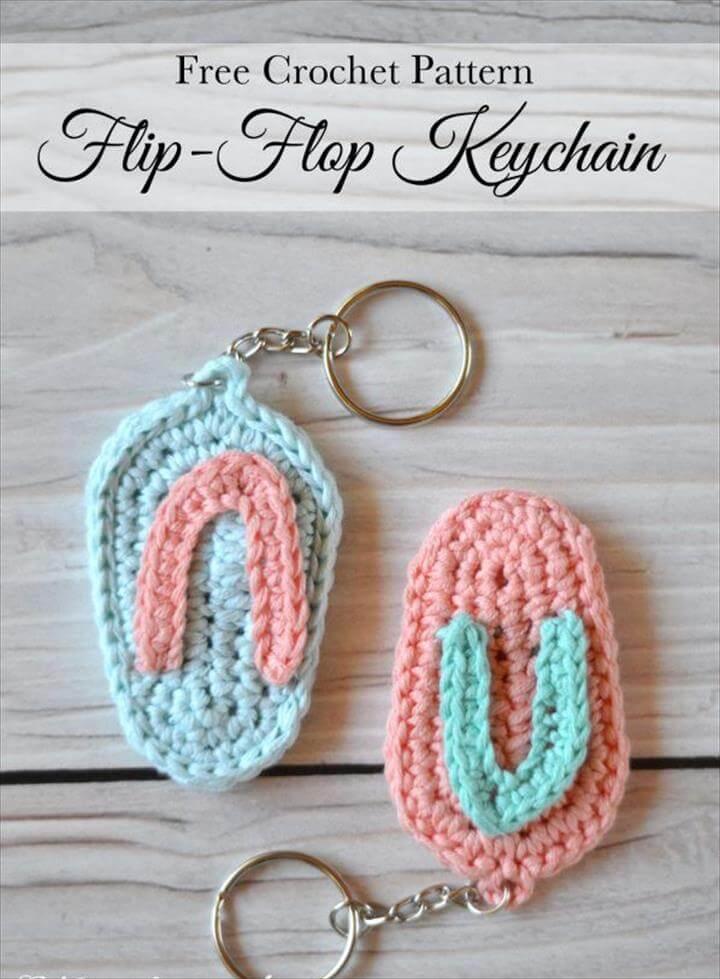 Crochet Flip Flop Key Chain
