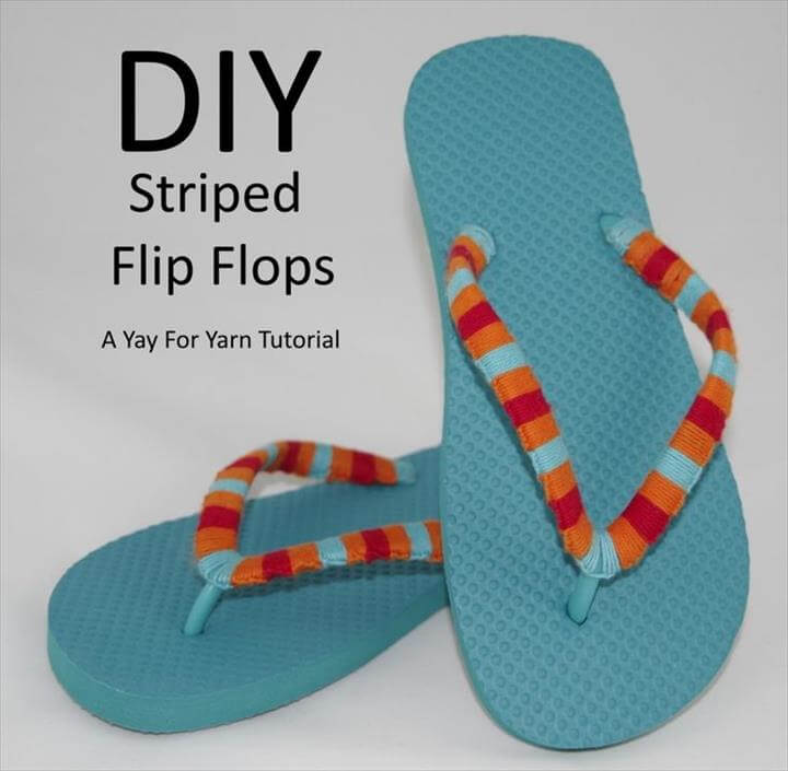Yarn Bomb Your Flip Flops - Beach Vacation Craft from Yay For Yarn. Make them · Crochet Flip FlopsSummer ...