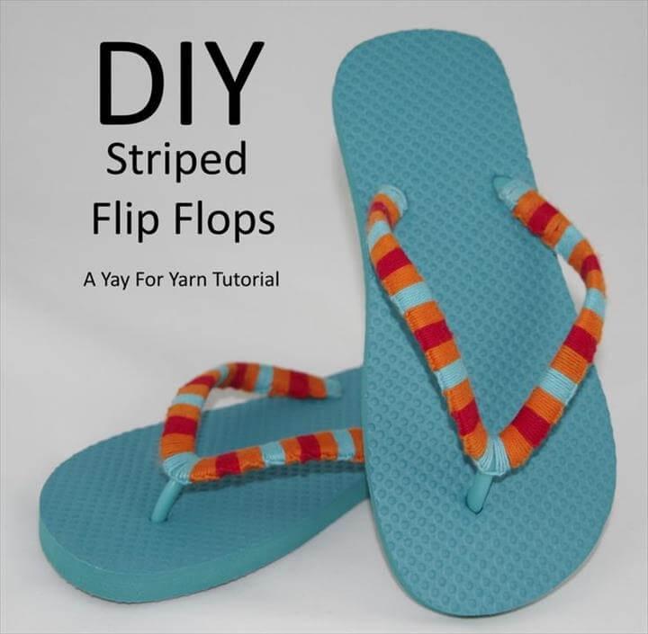 Yarn Bomb Your Flip Flops - Beach Vacation Craft from Yay For Yarn. Make them · Crochet Flip FlopsSummer ...