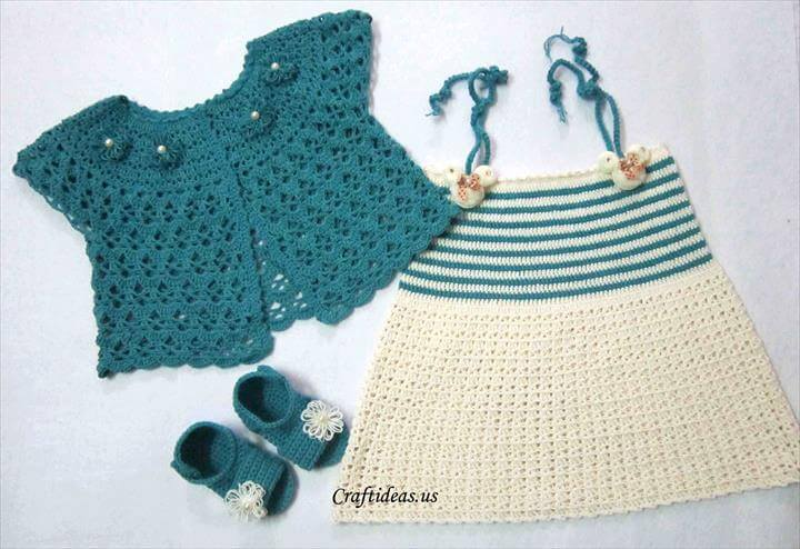 Crafts for summer: crochet cute top dress for baby