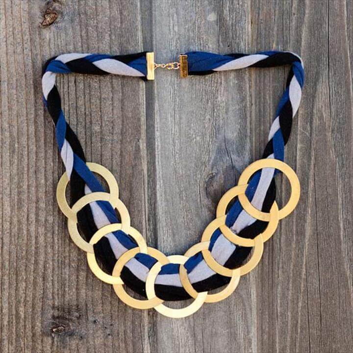 DIY Necklace Ideas - Brass Ring Statement Necklace - Pendant, Beads, Statement, Choker