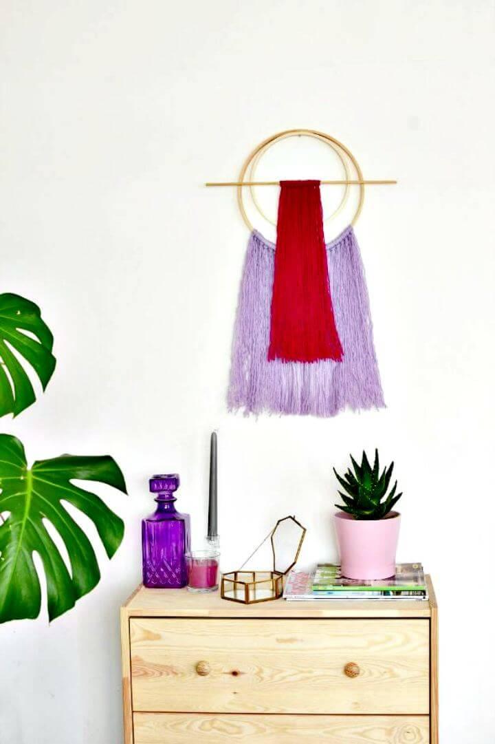 diy home decor, diy hoop yarn wall art, diy hanging art ide