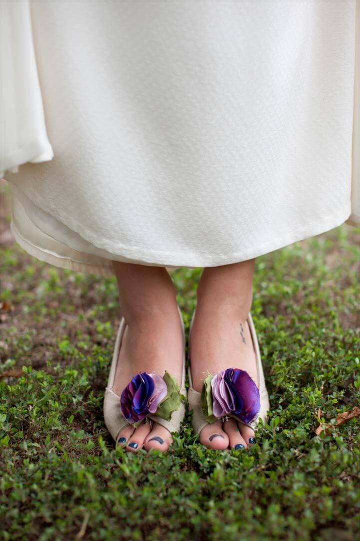 Fabric Flower Shoe Clips