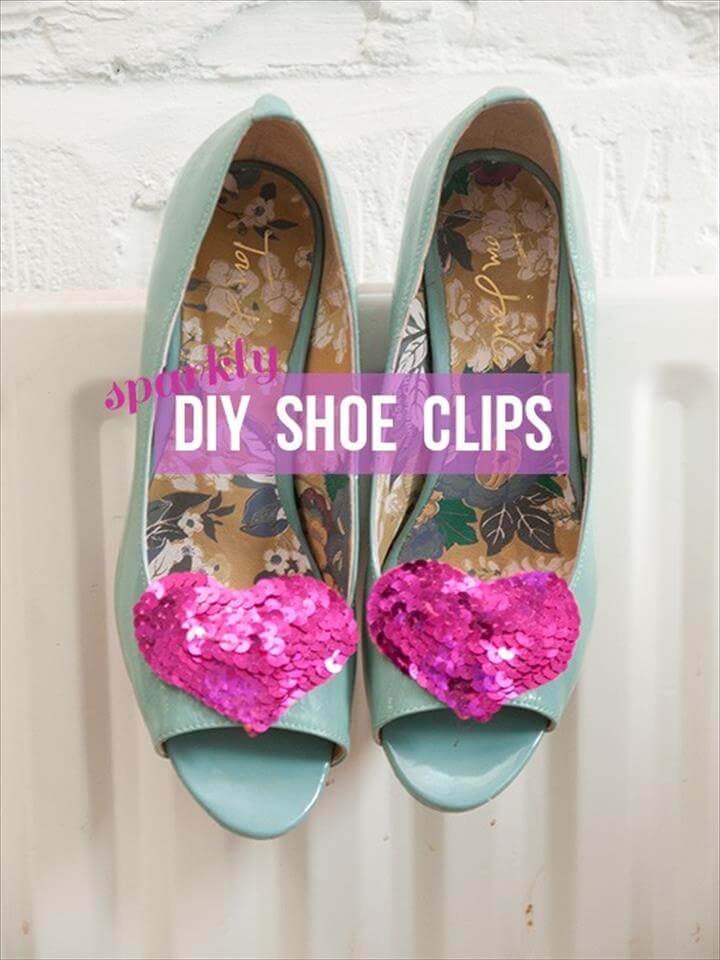 DIY sparkly heart shoe clips