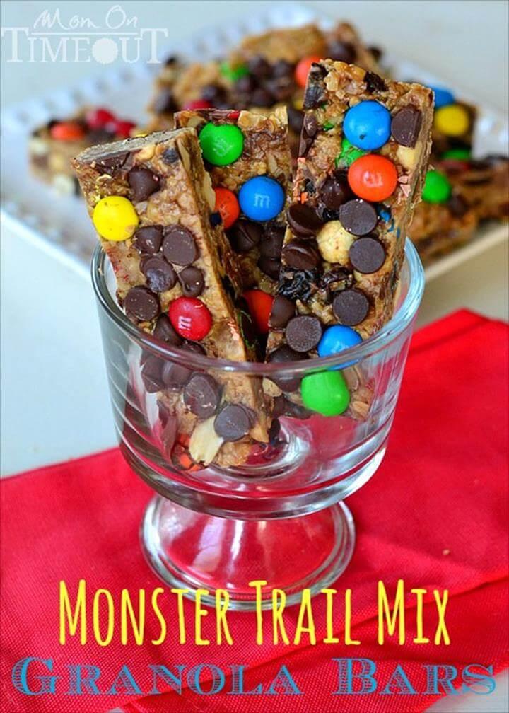 Monster Trail Mix Granola Bars