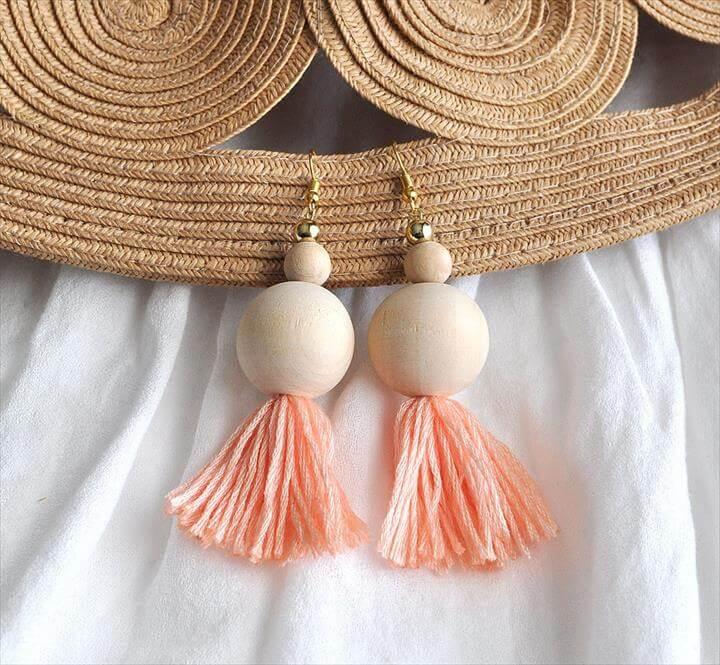Natural Wood Bead Tassel Earrings,