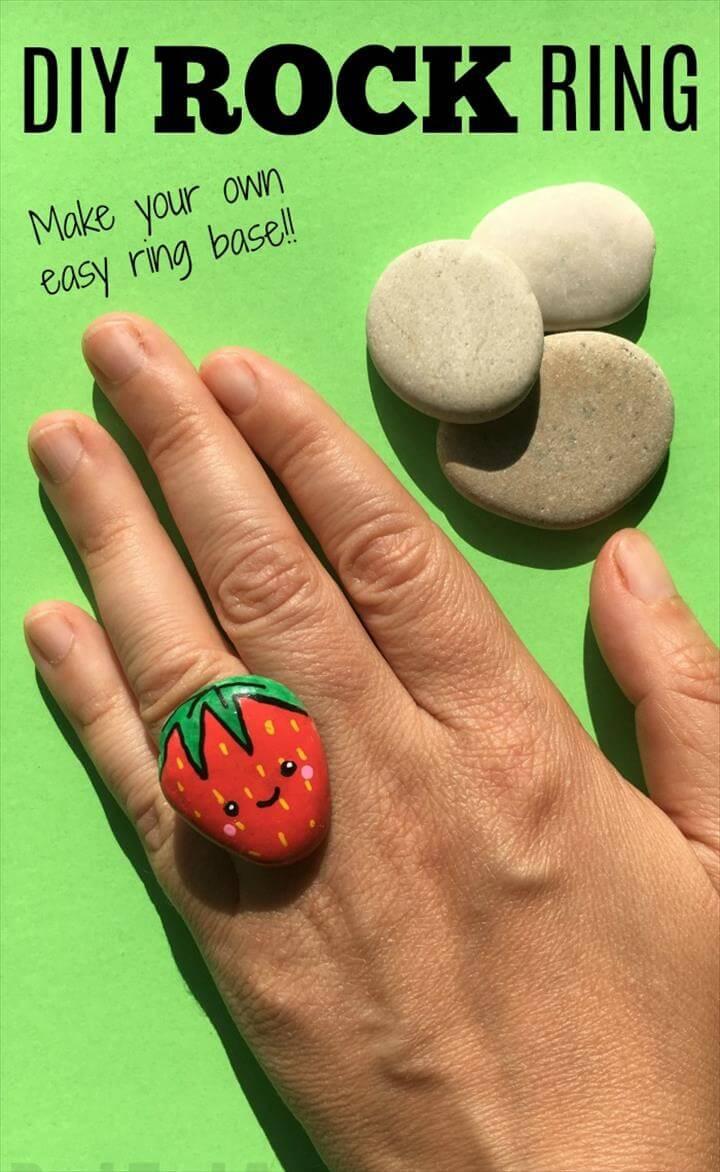 DIY Stone Ring - Kawaii Strawberry Ring DIY