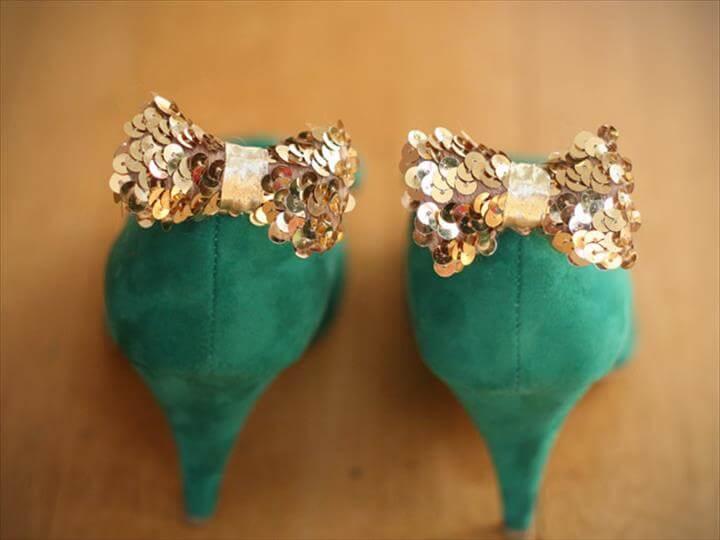 DIY: Sequin Bow Shoe Clips