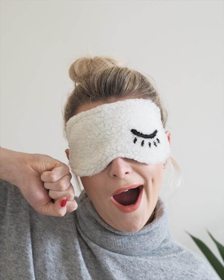 DIY Eye Mask Tutorial - fluffy white mask