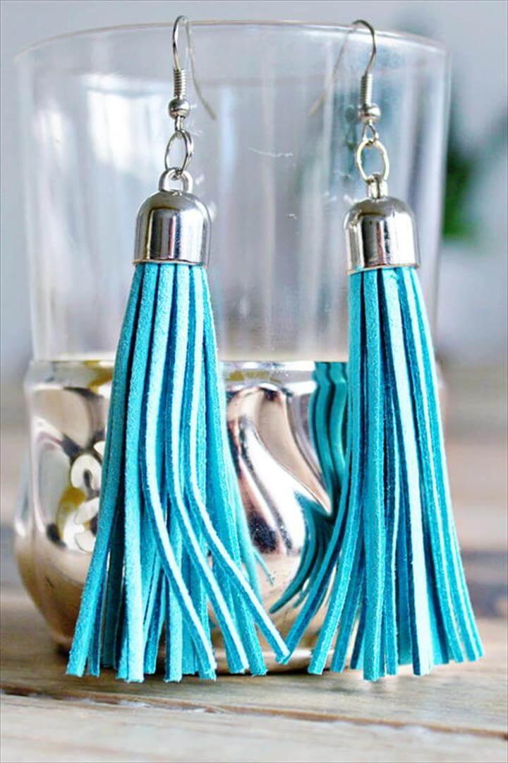 DIY Tassel Earrings, leather earrings