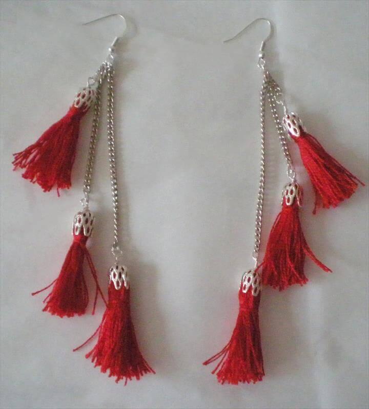 Mini tassels earrings DIY Tutorial