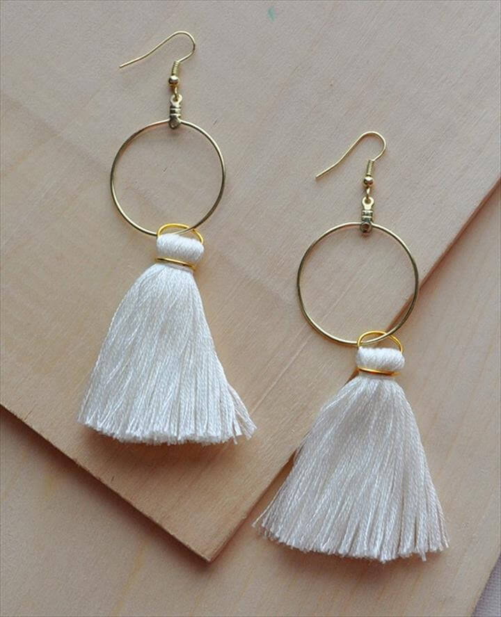 DIY White Tassel Hoop Earrings Tutorial