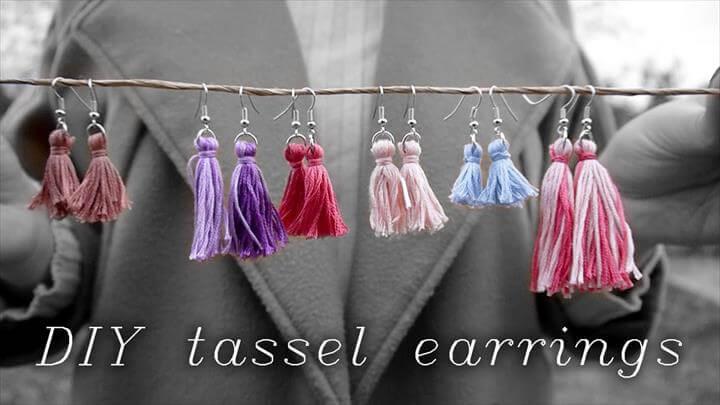 DIY Tassel Earrings w/ Embroidery Thread
