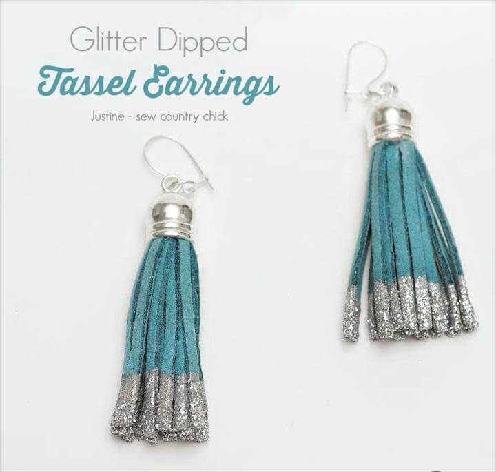 Glitter dipped tassel earrings supplies:
