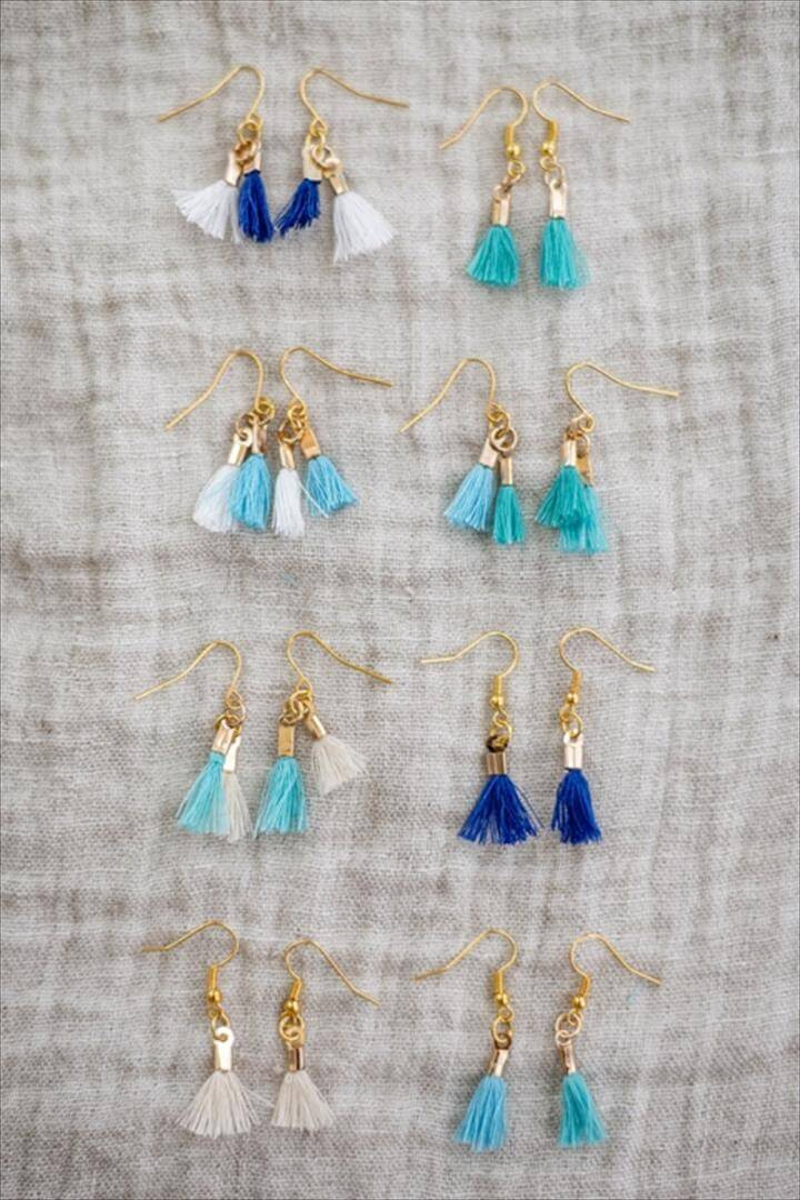 DIY Mini Dangle Tassel Earrings