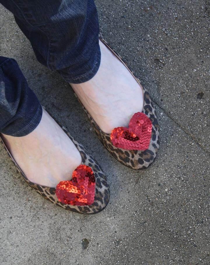 DIY - sequin heart shoe clips