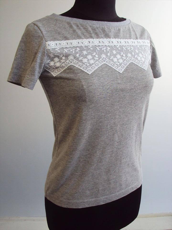 Refashion Friday Inspiration: Lace Embellished T-shirts