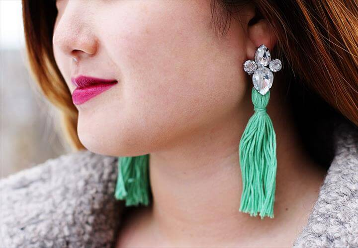 DIY RHINESTONE TASSEL EARRINGS