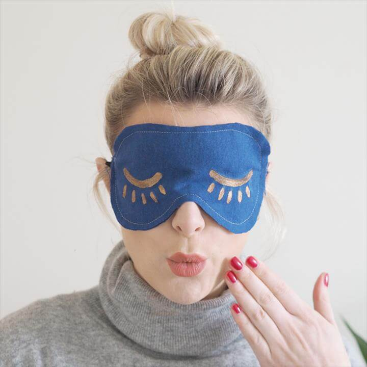 DIY Eye Mask Tutorial - blue eye mask wearing
