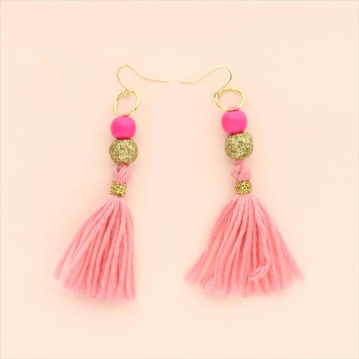 pink super cool tassel earrings