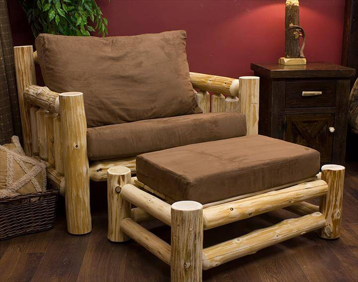 diy log chair with bench