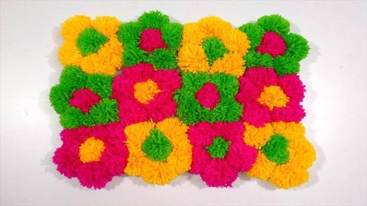 DIY - Beautiful door mat and Floor mat with woolen flowers easy doormat diy pom pom blanket