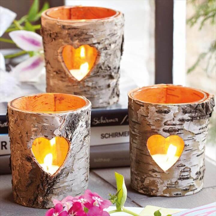 Birch Wood Log Candles