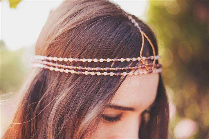DIY beaded headband, awesome craft project to do at home