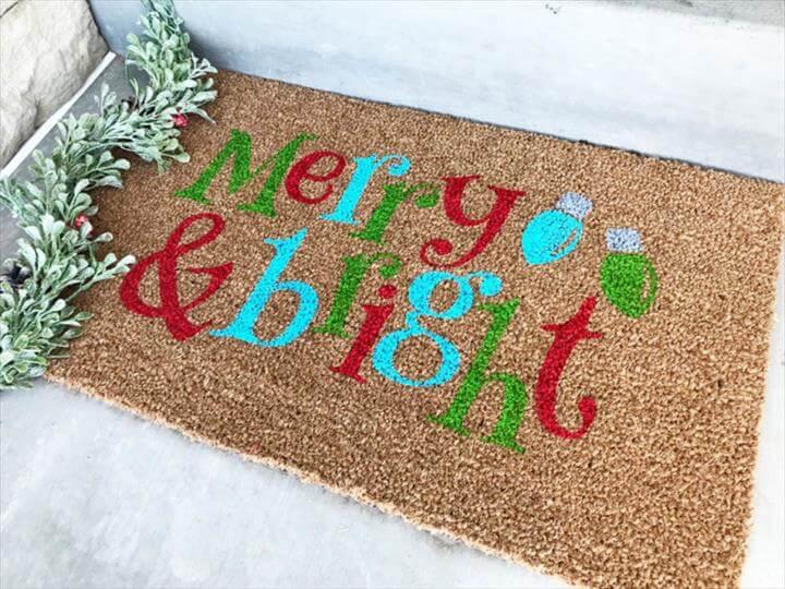 DIY Stenciled Christmas Doormat