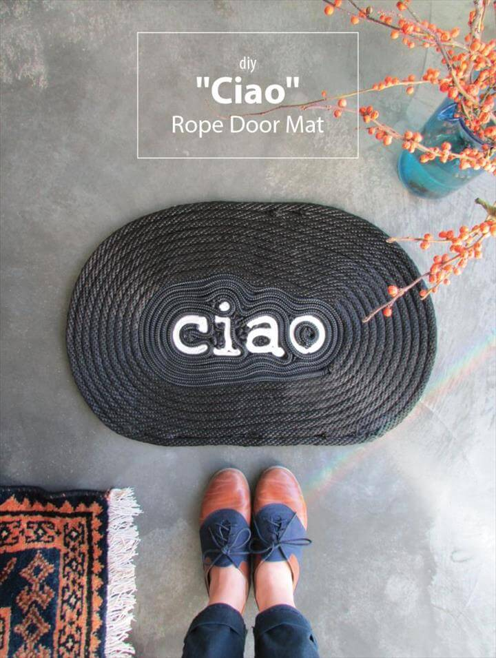 "DIY ""Ciao"" Rope Door Mat"