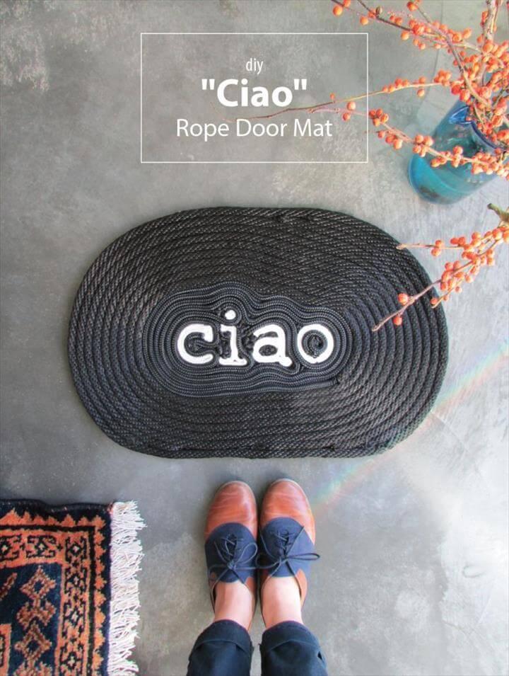 """DIY """"Ciao"""" Rope Door Mat"""